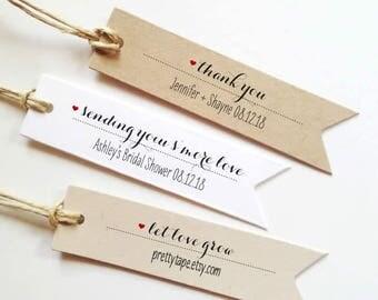 Wedding Favor Tags Wedding Thank You Tags Wedding Tags Custom gift Tag Personalized tags Bridal Shower Tag Custom Tag Smore Love Tag