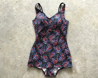 floral one piece 70s bathing suit - 1211494