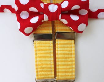 Little and Big Guy CARNIVAL Bow tie and Suspender SET - Red Dot Yellow Stripe -(Newborn-Adult)- Made to Order