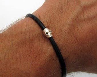 Mens Skull Bracelet -  Sterling Silver Skull bracelet for Men - Gift for Him - Mens Jewelry - Men's Silicone Bracelet - mens rubber bracelet