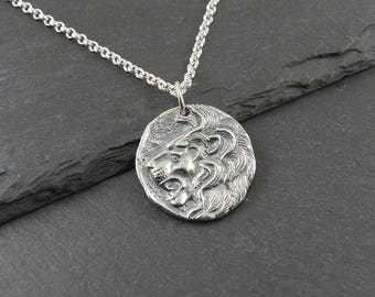 Lion Necklace - 925 Sterling Silver Leo jewelry, lion pendant, leo zodiac, lions head, womens