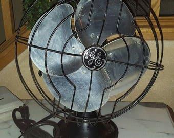 "Vintage Deco General Electric 12"" 3 Speed Oscillating 4 Blade Fan"