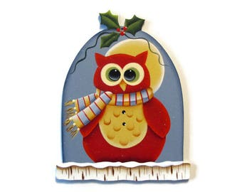 Red Owl Ornament, Handpainted Wood, Hand Painted Christmas Ornament, Tole Decorative Painting