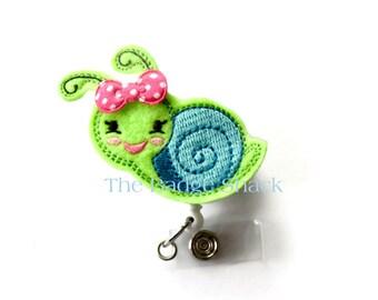 Snail  - Retractable ID Felt Badge Holder - Name Badge Holder - Cute Badge Reel - Nursing Badge - Felt Badge Reel - SLP Badge Holder - RN