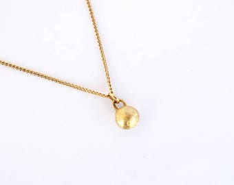 The Tiny Dome Charm.  14K Yellow Gold Pendant Charm. Unique Handmade Solid Gold Charm. Recycled Gold. Eco Friendly. One Dome Charm.