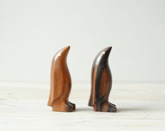 Vintage Wood Penguin Figurines, Mid Century Wooden Penguins