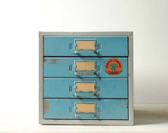 Vintage Tool Box Drawer Chest, Blue Drawer Cabinet, Utility Cabinet