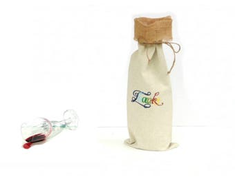 Wine bottle bag, thank you gift bag, linen wine gift bag, wine tote, hostess gift