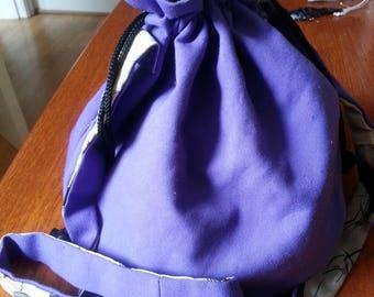 Purple Cotton Drawstring Across Body Shoulder Bag Floral Lining and Pocket