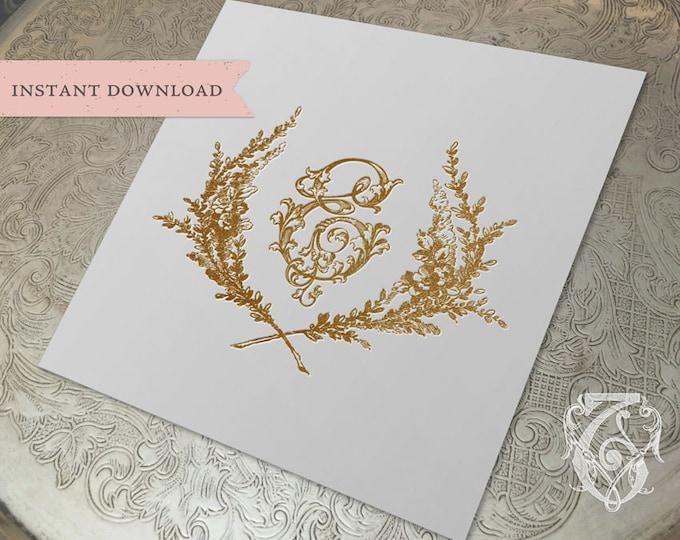 Vintage Wedding Initial Crest E Garden Wreath Digital Download