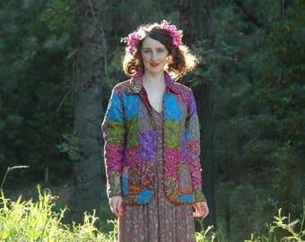 Gypsy / Jacket / Silk / Reversible / Patchwork / Boho / Bohemian / Indian / Festival