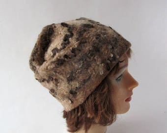 Beanie Felted hat, Beige brown wool hat, Felt winter warm hat,  beige brown Wool Hat Unisex, Warm felt hat brown felted hat outdoors gift