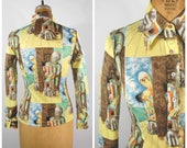 1970s Poly Abstract Shirt - Nettles World - Long Sleeved Button Down - Novelty Print Polyester Pointed Lapels