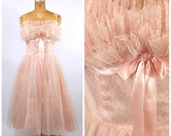 1950s Pink Polka Dot Tulle Formal // Mid 50s Strapless // Prom Dress // Shelf Bust - 50s Flocked Pink and White