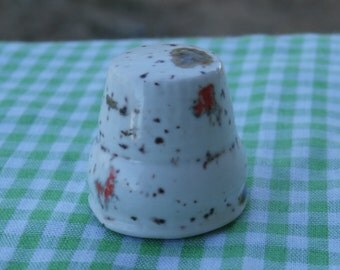 Vintage Speckled Drip Glaze Thimble Collectible Ceramic Off White with Brown Green Orange