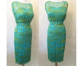 "CLEARANCE Lovely 1960's Silk Print Designer Cocktail Party Dress By "" I.Magnin""  Vintage Chic Wiggle Dress Size Small"