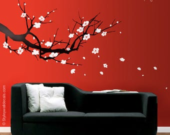 Cherry Blossom Branch Wall Decal, Sakura Tree Wall Decal, Cherry Blossom Tree Wall Decal, Cherry Branch Wall Sticker for Home Decor
