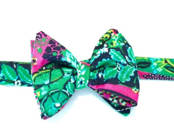 Pink & Green Floral Bow Tie