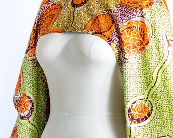 African Print Shrug Gold Orange and Green- One Size