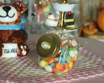 Miniature Candy Jar, Glass Jar With Candy and Removable Lid, Dollhouse Miniature, 1:12 Scale, Mini Food, Dollhouse Decor, Accessory, Crafts