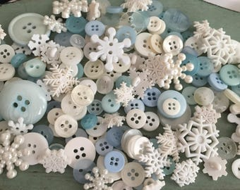 Snow & Winter Themed Buttons, Snowflakes, Variety Value Package VP314 by Buttons Galore, Assorted Shapes Sizes and Styles, Snowflake Buttons