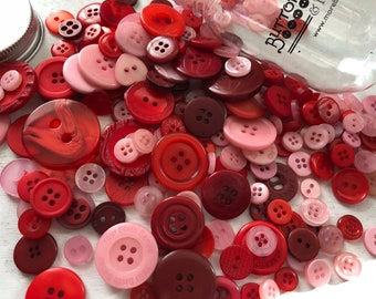 """Hand Dyed Buttons, """"Valentine"""", Mixed Buttons, 200 Buttons, Plastic Mini Mason Jar by Buttons Galore, 2 & 4 Hole Assortment"""