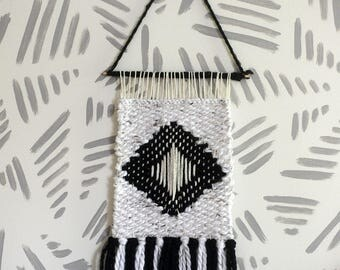 Wall Weaving | Woven Wall Art | Woven Wall Hanging | Wall Tapestry | White, Black, Diamond