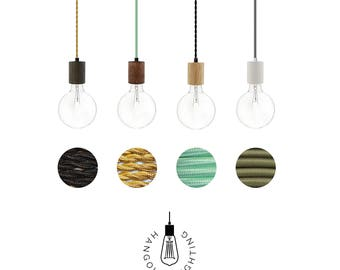Wood pendant Lighting - Any Custom Colors Edison L& Modern Industrial Chandelier- Hardwired or Plug  sc 1 st  Etsy & Wood pendant light | Etsy azcodes.com