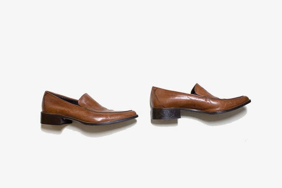 Vintage Leather Loafers 7 / Brown Leather Loafers / Italian Leather Loafers / Penny Loafers / Brown Leather Flats