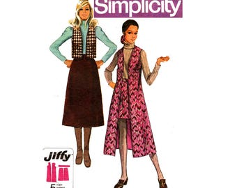 Simplicity 8953 Womens Jiffy Skirt Waistcoat & Long Vest 70s Vintage Sewing Pattern Size 14 Bust 36 inches