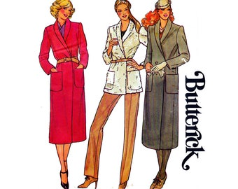 80s Wrap Coat Pattern Half Size Shawl Collar Single or Double Breasted Butterick 6737 Size 16 1/2 Bust 39 inches UNCUT Factory Folded