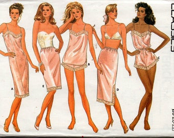 Butterick 5740 Womens Plus Size Lingerie Slips Panties Teddy Camisole 80s Vintage Sewing Pattern Size 18 20 22 UNCUT Factory Folds
