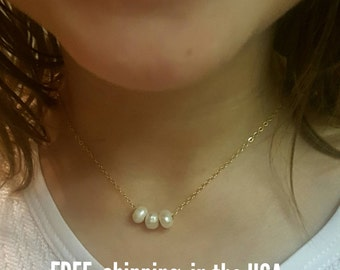 Pearl necklace FREE SHIPPING girls gold floating pearls flower girl wedding child kid