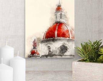 Church Dome and Statue, Catholic Church, Watercolor Printable Art, Christian Church, Printable Poster, Church Steeple, Art Download