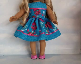 18 inch doll clothes - Blue Troll Dress made to fit the American Girl Doll - FREE SHIPPING USA