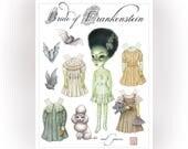The Bride of Frankenstein - full color Big Eyes pop surrealism paper art doll sheet - by Mab Graves