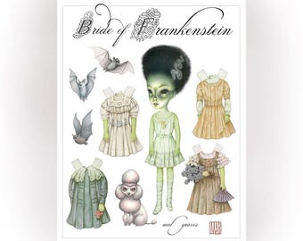 The Bride of Frankenstein - full color Big Eyes pop surrealism paper art doll sheet - by Mab Graves