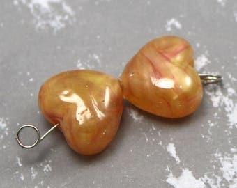 Butterscotch Hearts Pearls Czech Shampoo Glass Lampwork Bead Pair