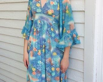 Hippie Dress Angel Sleeves Blue Floral Print Vintage 70s XS