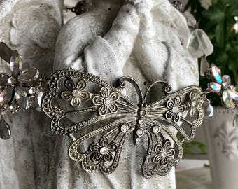butterfly bib - necklace vintage assemblage rhinestone gemstone statement choker quartz moonstone labradorite, the french circus