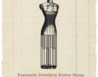 Pneu Dress Form unmounted rubber stamp