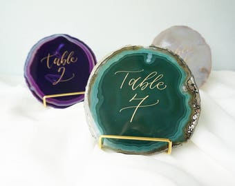 "Large 4""-5"" Agate Slice Calligraphy Table Numbers - Your choice of color and ink with or without gold or silver stand"