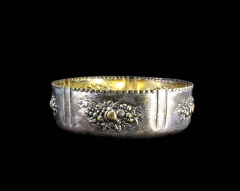 Antique Swedish Silver Repousse Scalloped Bowl with Fruits and Leaves by CG Hallberg Stockholm ca 1930s - Fruit Bowl - Nut Bowl