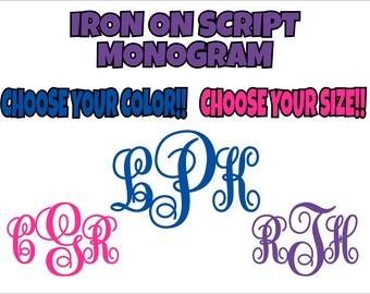 Iron On Custom Monogram, Script Monogram, Iron On Transfer, Custom Monogram, DIY Monogram, Monogram Do It Yourself