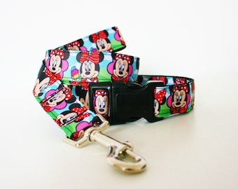 Minnie Mouse Disney Dog Collar or Matching Lead Seat Belt