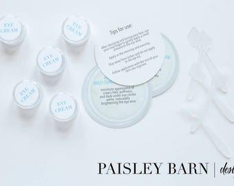 Eye Cream Travel Supplies Kit | mini facial, Rodan+Fields, travel, containers, stickers, business card, TSA, sample, skin