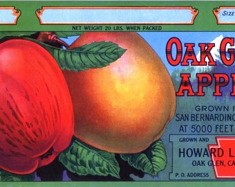Original vintage apple crate label 1940s Oak Glen Mountain Apples Yucaipa San Bernardino California 1/2 Box Size