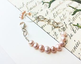 Pink Pearl Bracelet, Silver Bracelet, Pearl Bracelet, Beaded Bracelet
