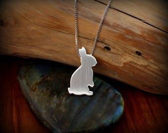 Bunny necklace, Hand cut sterling silver bunny rabbit necklace
