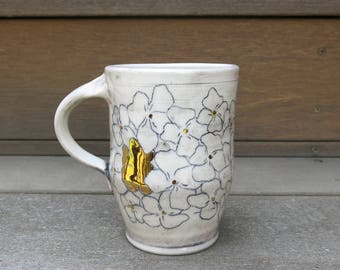 Handmade Ceramic Mug, Coffee Mug, Pottery Mug, Tea Mug, Floral Pattern Gold Luster One of a Kind Cup, Artisan Pottery by Licia Lucas Pfadt